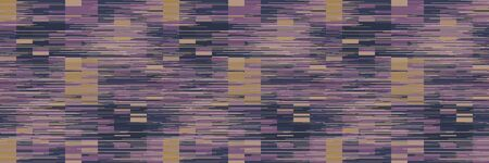 Spliced stripe geometric variegated border background. Seamless pattern with woven dye broken stripe. Bright gradient shape blend ribbon trim. Trendy digital disrupted glitch. Purple line 向量圖像
