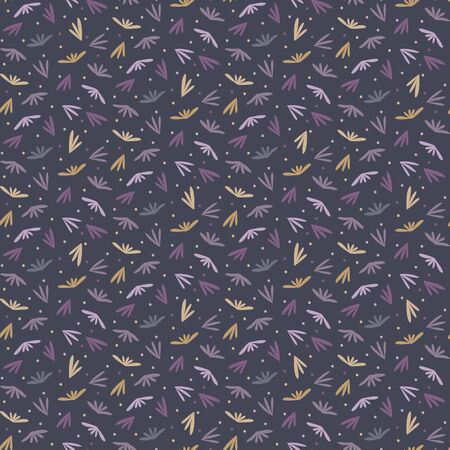 Tiny leaf moody ditsy seamless pattern. Modern all over print with petal grass. Dark winter fashion packaging background. Trendy purple dense style all over print. Small scale feminine textile swatch. 版權商用圖片 - 134583698