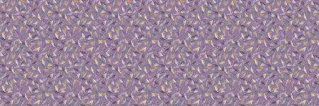 Folkloric tossed leaf border background. Seamless pattern with horizontal decorative folk leaves. Hand drawn lilac winter purple edging. Boho decorative textile ribbon trim background Stock Illustratie