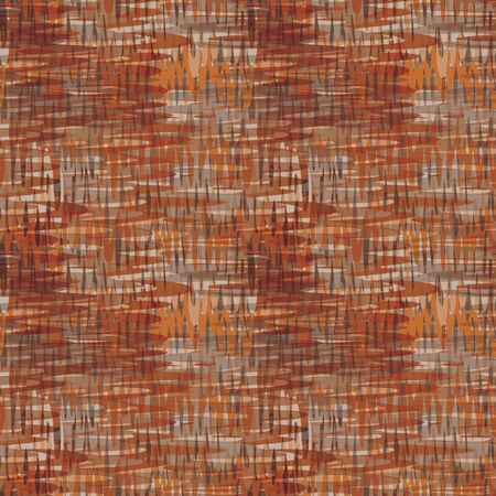 Space dyed linen texture fabric background. Seamless pattern of woven textile broken line. Homesun autumnal gradient weave blend all over print. Trendy mottled blurry fashion swatch. Spice color