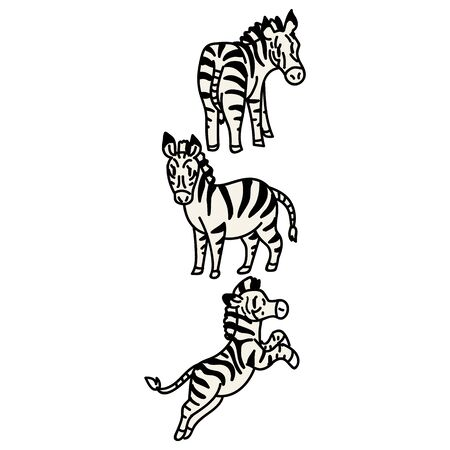 Adorable Vector Cartoon Lineart Zebra Standing Clip Art. Safari Animal Icon. Hand Drawn Kawaii Kid Motif Illustration Doodle in Flat Color. Isolated Baby, Nursery and Childhood Character.