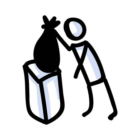 Hand Drawn Stick Figure Trash Bag. Concept of Clean Up Earth Day. Simple Icon Motif for Environmental Earth Day, Volunteer Clipart, Eco Rubbish Recycling Awareness Illustration. Vector Eps 10
