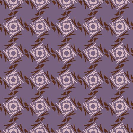 Geometric daisy flower seamless pattern. Abstract hand drawn floral background. Brown purple spice color muted tones. All over print for daisies square mosaic textile. Vector repeat eps10 向量圖像