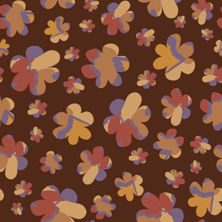 Moody naive daisy bloom seamless pattern. Tossed hand drawn floral background. Brown marble spice color muted tones. All over print for daisies textile. Vector repeat eps10
