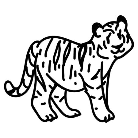 Adorable Lineart Cartoon Tiger Vector Clip Art. Safari Animal Icon. Hand Drawn kawaii Kid Motif Illustration Doodle In Flat Color. Isolated Baby, Nursery and Childhood Character. Colorful Cute.