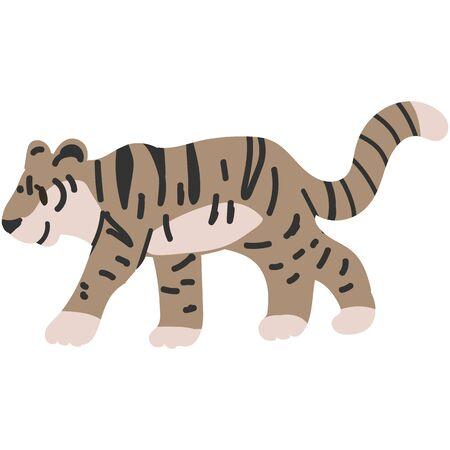 Adorable Cartoon Vector Walking Tiger Clip Art. Safari Animal Icon. Hand Drawn kawaii Big Cat Motif Illustration Doodle In Flat Color. Isolated Baby, Nursery and Childhood Character. Lineless.