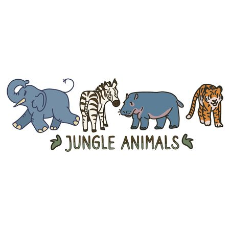Adorable Cartoon Jungle Animal Clip Art. Safari Tiger Icon. Hand Drawn kawaii Zebra and Vector Hippo Motif Illustration Doodle In Flat Color. Isolated Elephant, Nursery and Childhood Character.