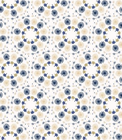 Tiny daisy mandala seamless pattern . Kaleidoscope floral fabric textile. Vector daisies geometric all over print.