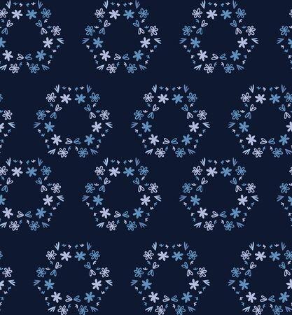 Blue indigo tiny daisy wreath seamless pattern . Dark moody dyed winter floral fabric textile. Vector ditsy vintage all over print. 版權商用圖片 - 134584040