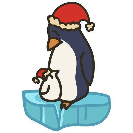 Adorable Parent Christmas Penguin Clip Art. Arctic Animal Icon. Hand Drawn kawaii Polar Bird Motif Illustration Doodle In Flat Color. Isolated Baby, Nursery and Christmas Bird. Vector.