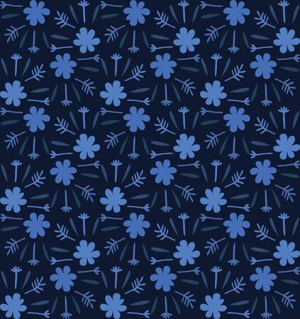 Blue indigo tiny daisy meadow seamless pattern . Dark moody dyed winter floral fabric textile. Vector ditsy vintage all over print. 向量圖像
