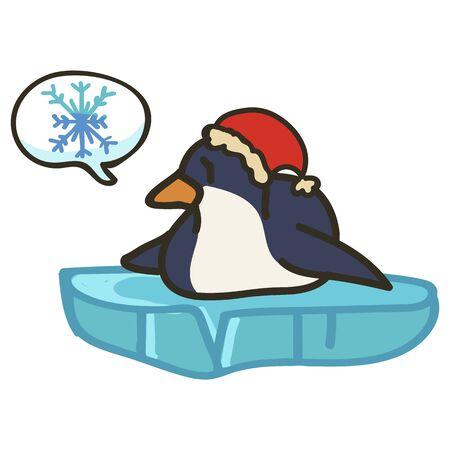 Adorable Christmas Penguin Clip Art with Speech Bubble. Arctic Animal Icon. Hand Drawn kawaii Polar Bird Motif Illustration Doodle In Flat Color. Isolated Baby, Nursery and Christmas Bird. Vector. Illusztráció