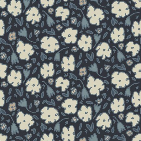 Steel Grey Naive Daisy Bloom Seamless Pattern. Hand Drawn Tossed Floral background. Neutral muted tones. Moody Ditsy Winter Style. 版權商用圖片 - 134584054