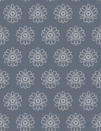 Steel Grey Naive Daisy Bloom Seamless Pattern. Hand Drawn Monochrome Floral background. Neutral muted tones. Japanese Bloom Wagara Style.