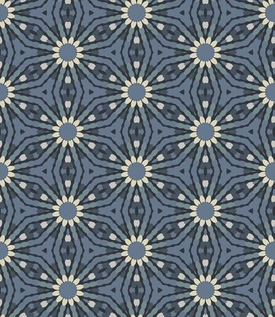 Steel Grey Naive Daisy Bloom Seamless Pattern. Hand Drawn Mosaic Floral background. Neutral muted tones. Moody Prairie Winter Style.