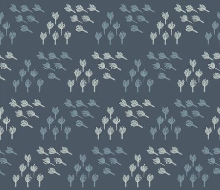 Winter Grey Garden Leaf Seamless Pattern. Tossed Hand Drawn Flower Petal Stem for Trendy Background. Steel Gray Cool Blue Muted Tone