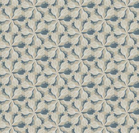 Beige Grey Naive Daisy Bloom Seamless Pattern. Hand Drawn Monochrome Floral background. Neutral muted tones. Japanese Bloom Wagara Style. 版權商用圖片 - 134584721