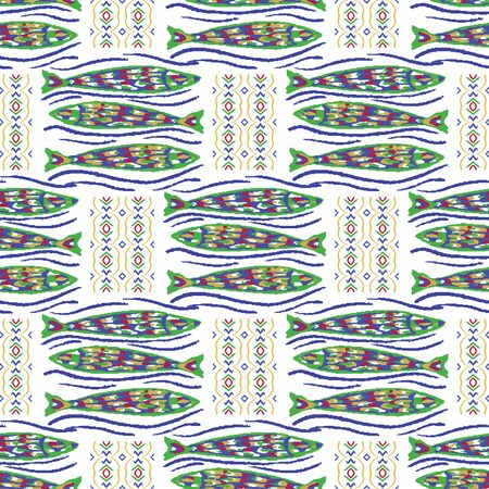 Sardines Fish Tile Seamless Vector Pattern. Grilled Seafood BBQ Motif for Lisbon St Anthony Portugese Food Festival. Traditional Grilled Recipe Graphic. Portugal Canned Seafood Packaging.