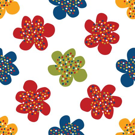 Portuguese Naive Daisy Bloom Seamless Pattern. Hand Drawn Tossed Floral Background. Bright Ditsy Summer Style. All Over Print for Daisies Flower Packaging. Portugal Tourism Posters. 版權商用圖片 - 134584811