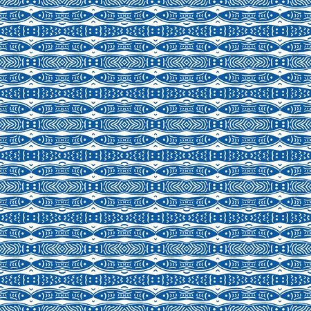 Blue Sardines Fish Stripe Seamless Vector Pattern. Swimming Sea Animal for Lisbon St Anthony Portugese Food Festival.