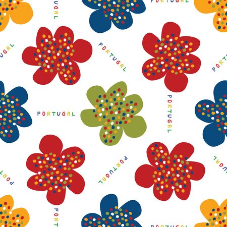 Portuguese Naive Daisy Bloom Seamless Pattern. Hand Drawn Tossed Floral Background. Bright Ditsy Summer Style. All Over Print for Daisies Flower Packaging. Portugal Tourism Posters. Vector Tile Eps10