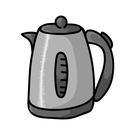 Cute Electric Kettle Cartoon Vector Illustration. Hand Drawn Hot Drink Element Clip Art for Kitchen Concept. Breakfast Graphic, Drink and Machine Web Buttons. Appliance Motif Illustration Flat Color.  イラスト・ベクター素材