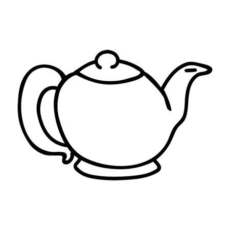 Cute Teapot Lineart Cartoon Vector Illustration. Hand Drawn Hot Drink Element Clip Art for Kitchen Concept. Breakfast Graphic, Drink and Crockery Web Buttons. Monochrome Tea Motif Illustration..
