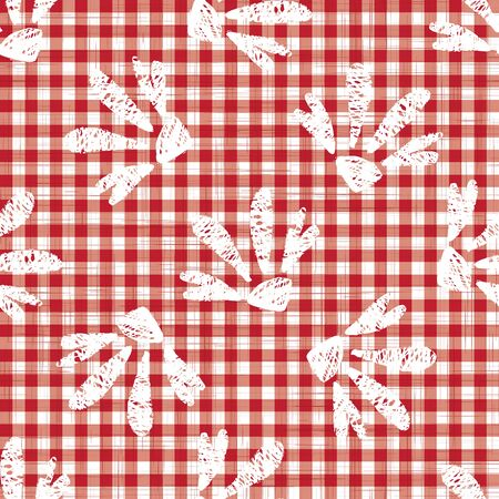 1950s Gingham Seamless Vector Repeat Pattern Background. Red and White Printed with Daisy Motif. Classic Retro Fashion, Picnic Table Cloth Textile Fabric. Vintage Apron Style. Vector  Tile