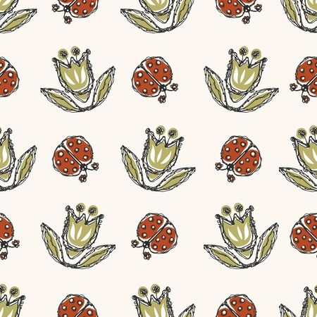 Modern Doodle Tulip and Ladybug Seamless Pattern. Hand Drawn Scribble Flower Repeat. Kawaii Dot Blossom Background. For Spring and Summer Textile, Packaging All Over Print. Cute Wallpaper Vector 向量圖像