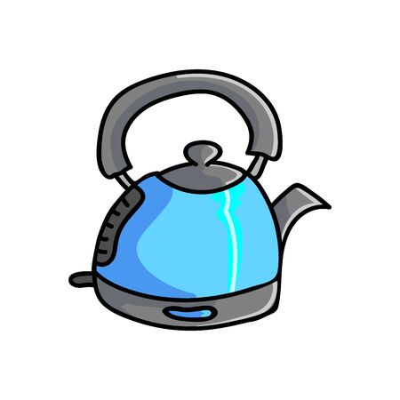 Cute Blue Kettle Cartoon Vector Illustration. Hand Drawn Hot Drink Element Clip Art for Kitchen Concept. Breakfast Graphic, Drink and Machine Web Buttons. Appliance Motif Illustration Flat Color.