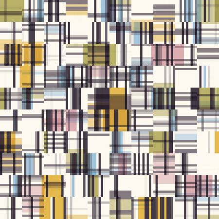 Spliced Plaid Check Grid Variegated Background. Seamless Pattern with Woven Dye Broken Lines. Mid Century Modern Textile All Over Print. Trendy Digital Disrupted Glitch Tile Repeat in Vector 向量圖像