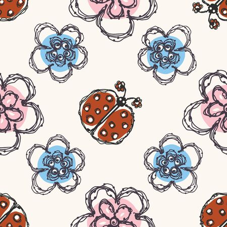 Modern Doodle Daisy and Ladybug Seamless Pattern. Hand Drawn Scribble Flower Repeat. Kawaii Dot Blossom Background. For Spring and Summer Textile, Packaging All Over Print. Cute Wallpaper Vector