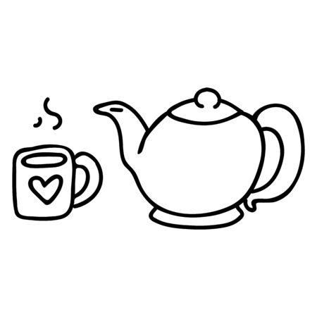 Cute Teapot and Mug Lineart Cartoon Vector Illustration. Hand Drawn Hot Drink Element Clip Art Kitchen Concept. Breakfast Graphic, Drink and Crockery Web Buttons. Monochrome Tea Motif Illustration..