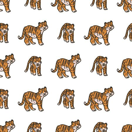 Cute Tiger Cartoon Seamless Vector Pattern. Hand Drawn Widlife Big Cat Tile. All Over Print For Nature Blog, Feline Graphic, Carnivore Home Decor.