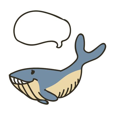 Adorable Lineart Blue Whale Clip Art. Water Animal Icon. Hand Drawn Speech Bubble Marine LIfe Motif Illustration Doodle In Flat Color. Isolated Baby, Nursery and Nautical Wildlife Character. Vector. Vettoriali