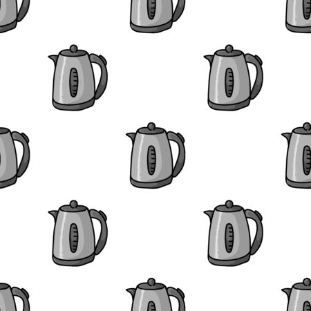 Cute Electric Kettle Cartoon Seamless Vector Pattern. Hand Drawn Electric Appliance Ceramic Kitchen Tile. All Over Print For Hot Drink Blog, Kitchenware Graphic, Household Home Decor.