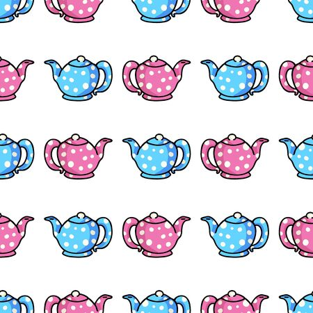 Cute Teapot Cartoon Seamless Vector Pattern. Hand Drawn Pink and Blue Ceramic Kitchen Tile. All Over Print For Hot Drink Blog, Kitchenware Graphic, Household Home Decor.