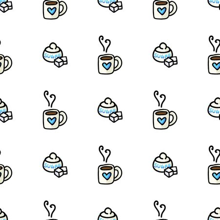 Cute Coffee Mug and Sugar Pot Cartoon Seamless Vector Pattern. Hand Drawn Blue Ceramic Kitchen Tile. All Over Print For Hot Drink Blog, Kitchenware Graphic, Household Home Decor. Vectores