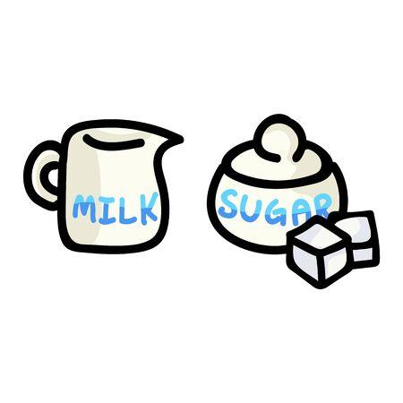 Joli pot à lait et pot à sucre Cartoon Vector Illustration. Élément de produits laitiers petit-déjeuner dessinés à la main Clip Art pour Concept de cuisine. Motif de griffonnage de bouton Web doux graphique, boisson et vaisselle.