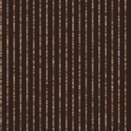 Dark Brown Knit Stitch Stripe Texture Background. Seamless Pattern in Multicolor Variegated Dye. Knitting Craft Background. Hand Drawn Winter Stitch Effect All Over Print. Vector Repeat .