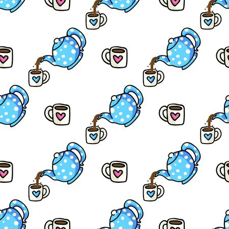 Cute Teapot Pouring into Mug Cartoon Seamless Vector Pattern. Hand Drawn Blue Ceramic Kitchen Tile. All Over Print For Hot Drink Blog, Kitchenware Graphic, Household Home Decor.  イラスト・ベクター素材