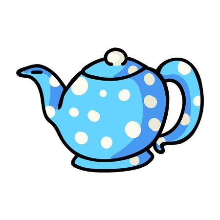 Cute Teapot Cartoon Vector Illustration. Hand Drawn Hot Drink Element Clip Art for Kitchen Concept. Breakfast Graphic, Drink and Crockery Web Buttons. Tea Motif Illustration..