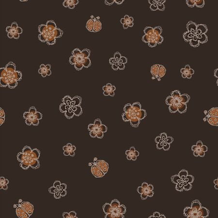 Modern Doodle Daisy Seamless Pattern. Hand Drawn Scribble Flower Repeat. Ditsy Blossom Background. Dark Brown Vintage Art. Moody Winter Textile, Packaging All over print. Cute Wallpaper Vector