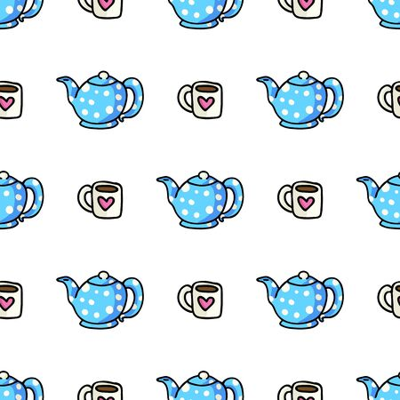 Cute Teapot and Mug Cartoon Seamless Vector Pattern. Hand Drawn Blue Ceramic Kitchen Tile. All Over Print For Hot Drink Blog, Kitchenware Graphic, Household Home Decor.  イラスト・ベクター素材