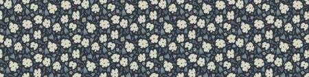 Indigo Grey Naive Daisy Bloom Seamless Border Pattern. Hand Drawn Ditsy Floral Texture background. Neutral muted tones. Moody Ditsy Winter Washi Tape. Daisies Flower Textile Ribbon Trim. Vector 向量圖像