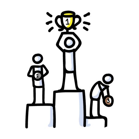 Hand Drawn Stick Figure Champion Podium. Concept Prize Winner Competition. Simple Icon Motif for Pictogram contest. First place, Second, Third, Bujo Illustration. Vector
