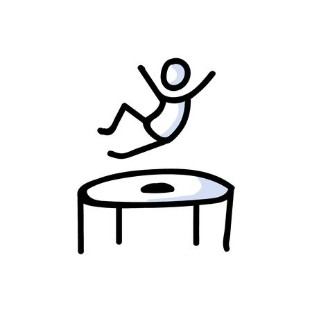 Hand Drawn Stickman Jumping on Trampoline. Concept Physical Exercise. Simple Icon Motif for Trapmolining Stick Figure Pictogram. Energy, Movement, Sport, Gym Bujo Illustration. Vector EPS 10.