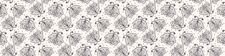 Hand Drawn Doodle Butterfly Motif Seamless Border Pattern. Simple Playful Monochrome Background. Folk Art Sketch Style Textile, Packaging, Wallpaper. Childish Naive Banner Ribbon Trim.