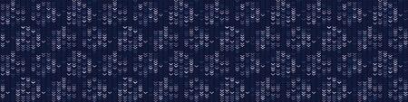 Masculine Bleach Dot Stripe Knitted Marl Border Background. Winter Nordic Seamless Pattern. Indigo Blue Jean Knit Stitch Faded Texture. Tie Dye Effect Textile, Melange Banner Ribbon. Vector Иллюстрация