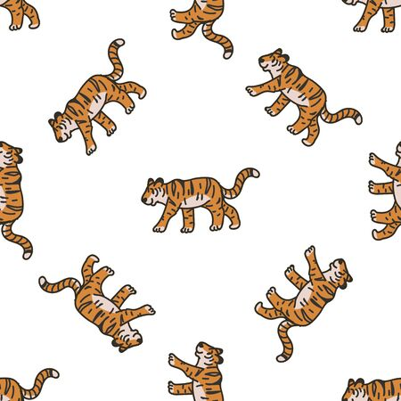 Cute Walking Tiger Cartoon Seamless Vector Pattern. Hand Drawn Widlife Big Cat Tile. All Over Print For Nature Blog, Feline Graphic, Carnivore Home Decor.